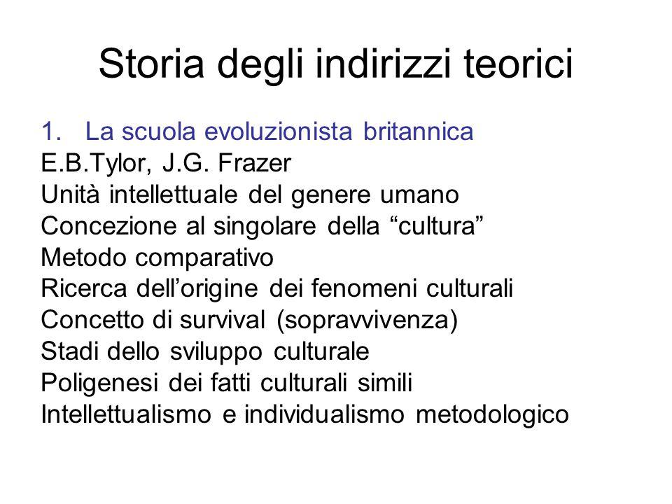Storia degli indirizzi teorici 1.La scuola evoluzionista britannica E.B.Tylor, J.G.