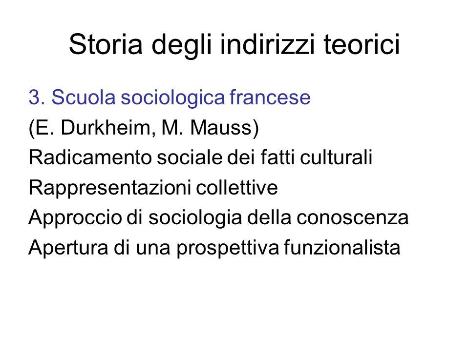 Storia degli indirizzi teorici 3.Scuola sociologica francese (E.