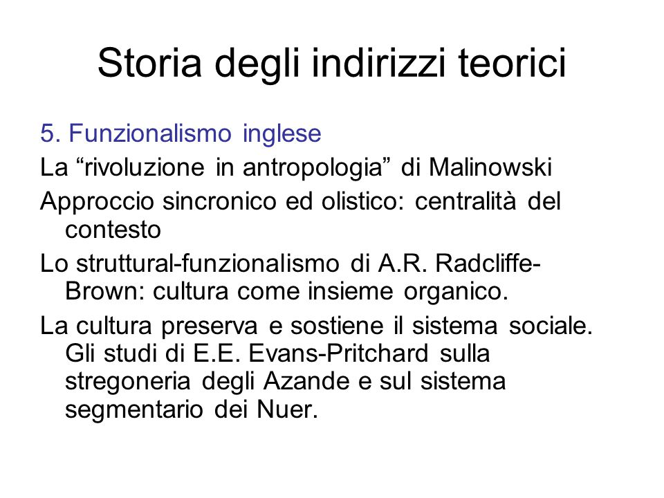 Storia degli indirizzi teorici 5.