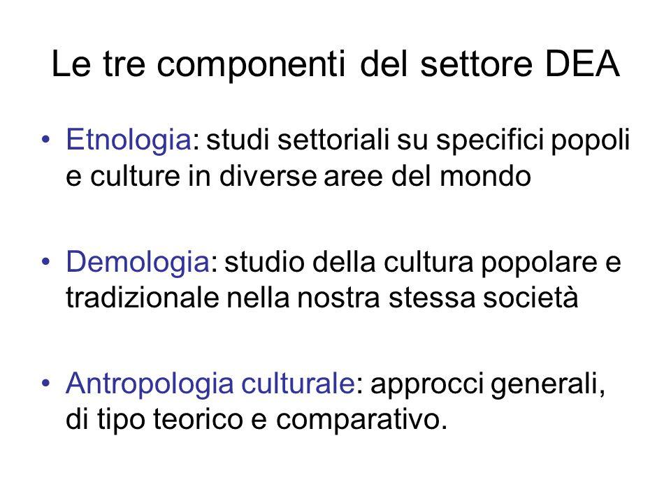 Le tre componenti del settore DEA Etnologia: studi settoriali su specifici popoli e culture in diverse aree del mondo Demologia: studio della cultura popolare e tradizionale nella nostra stessa società Antropologia culturale: approcci generali, di tipo teorico e comparativo.