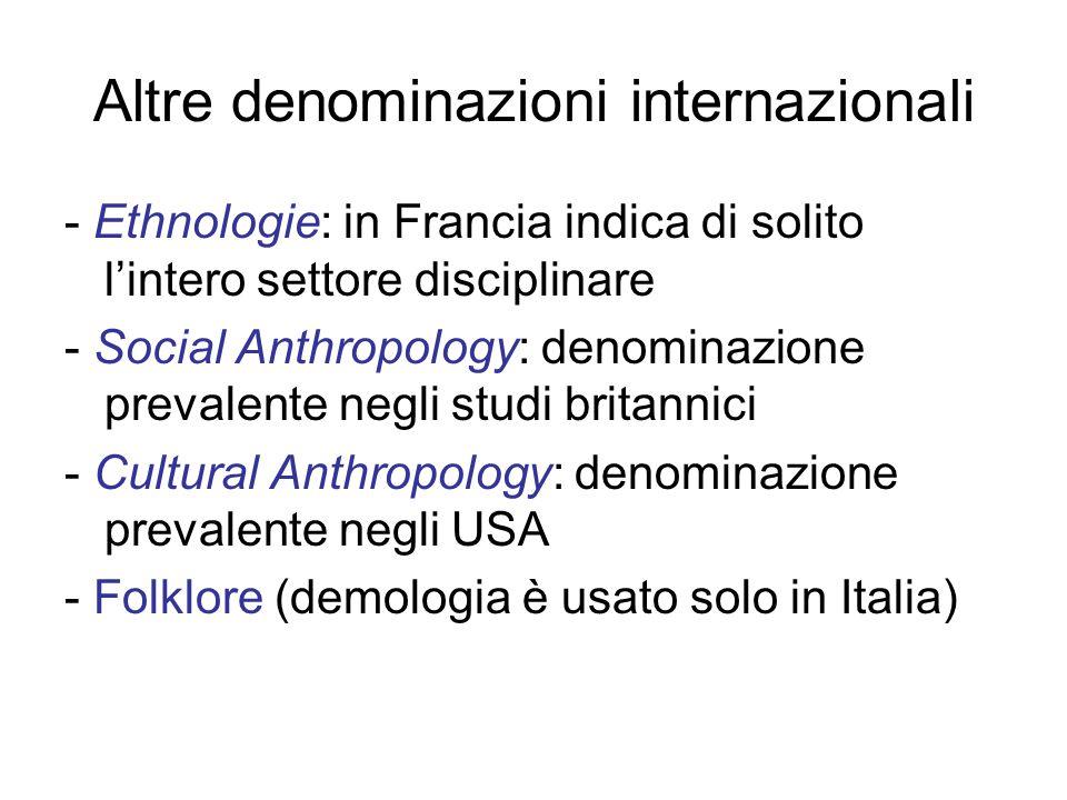 Altre denominazioni internazionali - Ethnologie: in Francia indica di solito l'intero settore disciplinare - Social Anthropology: denominazione prevalente negli studi britannici - Cultural Anthropology: denominazione prevalente negli USA - Folklore (demologia è usato solo in Italia)
