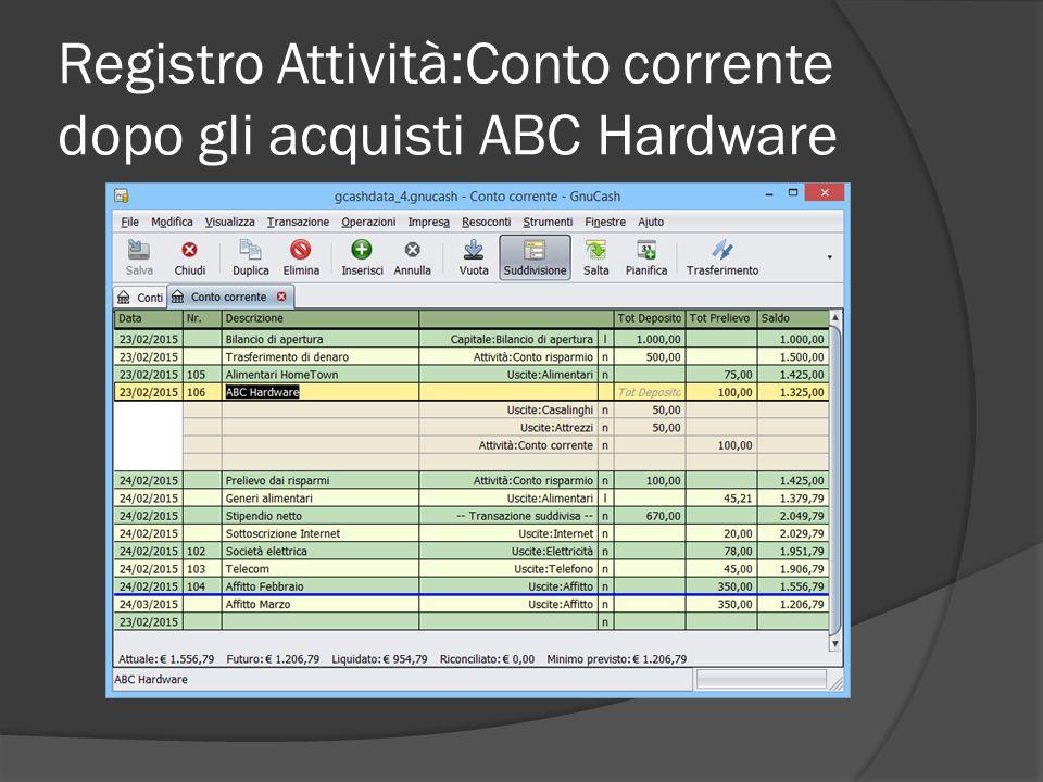 Registro Attività:Conto corrente dopo gli acquisti ABC Hardware