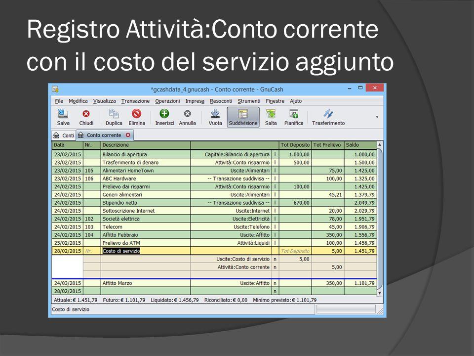 Registro Attività:Conto corrente con il costo del servizio aggiunto