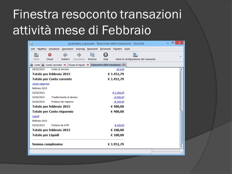 Finestra resoconto transazioni attività mese di Febbraio