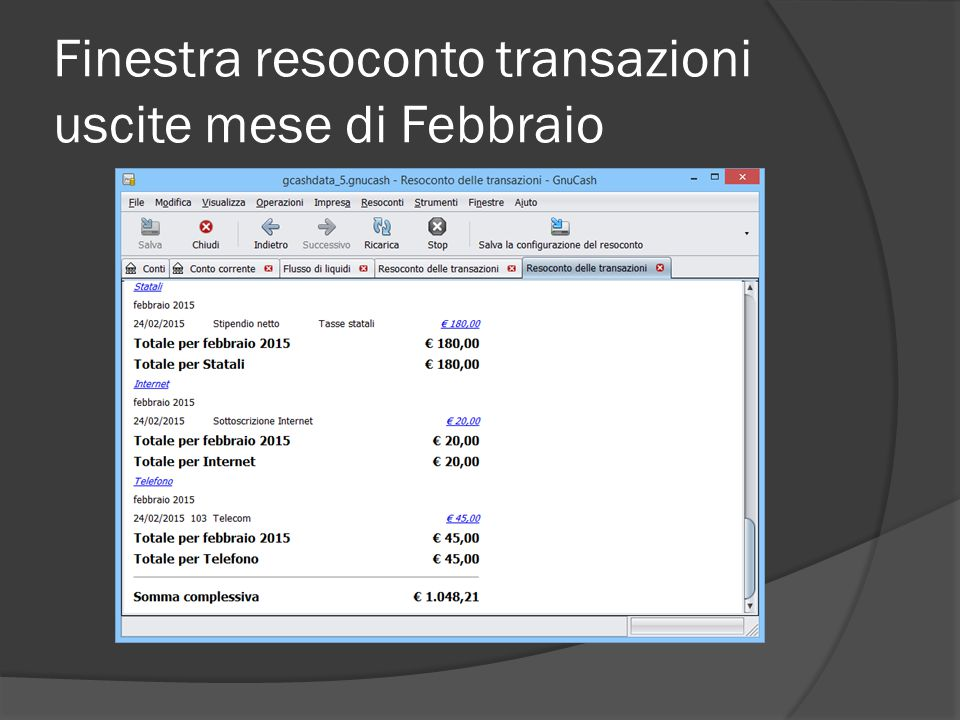 Finestra resoconto transazioni uscite mese di Febbraio