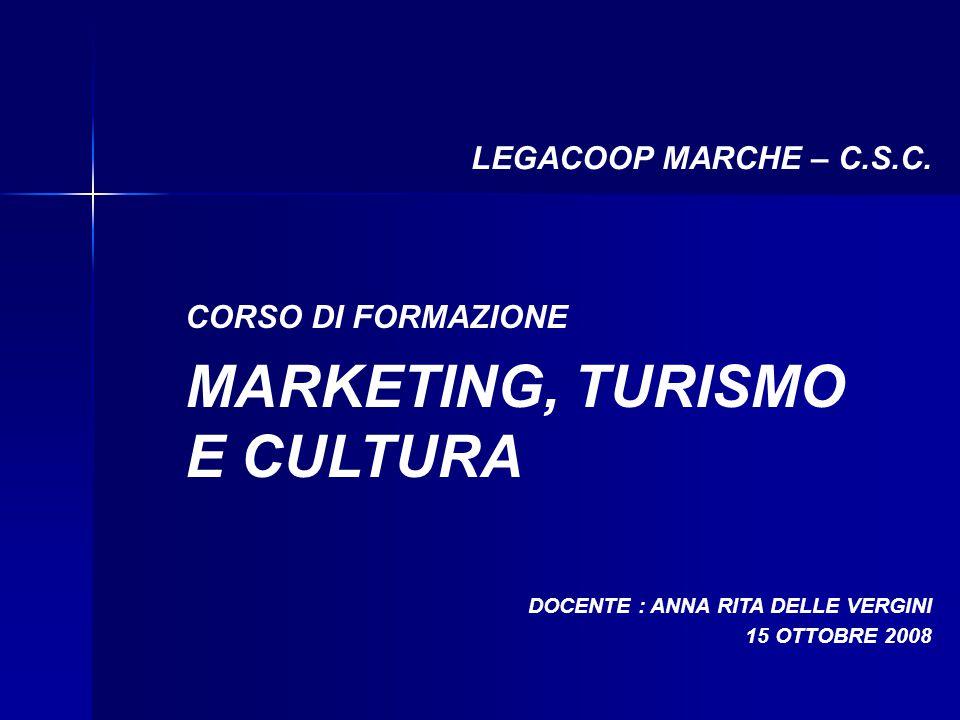 CORSO DI FORMAZIONE MARKETING, TURISMO E CULTURA LEGACOOP MARCHE – C.S.C. DOCENTE : ANNA RITA DELLE VERGINI 15 OTTOBRE 2008