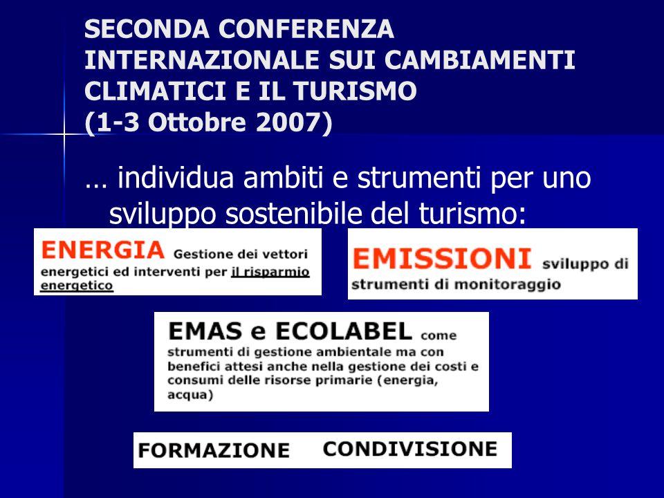 SECONDA CONFERENZA INTERNAZIONALE SUI CAMBIAMENTI CLIMATICI E IL TURISMO (1-3 Ottobre 2007) … individua ambiti e strumenti per uno sviluppo sostenibile del turismo: