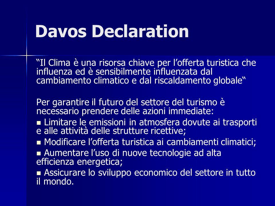 Davos Declaration Il Clima è una risorsa chiave per l'offerta turistica che influenza ed è sensibilmente influenzata dal cambiamento climatico e dal riscaldamento globale Per garantire il futuro del settore del turismo è necessario prendere delle azioni immediate: Limitare le emissioni in atmosfera dovute ai trasporti e alle attività delle strutture ricettive; Modificare l'offerta turistica ai cambiamenti climatici; Aumentare l'uso di nuove tecnologie ad alta efficienza energetica; Assicurare lo sviluppo economico del settore in tutto il mondo.