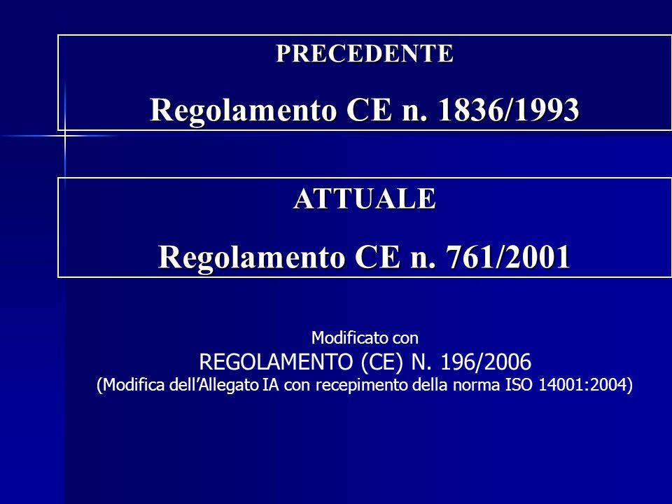 PRECEDENTE Regolamento CE n. 1836/1993 Modificato con REGOLAMENTO (CE) N. 196/2006 (Modifica dell'Allegato IA con recepimento della norma ISO 14001:20
