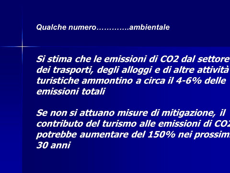 Qualche numero………….ambientale Si stima che le emissioni di CO2 dal settore dei trasporti, degli alloggi e di altre attività turistiche ammontino a circa il 4-6% delle emissioni totali Se non si attuano misure di mitigazione, il contributo del turismo alle emissioni di CO2 potrebbe aumentare del 150% nei prossimi 30 anni