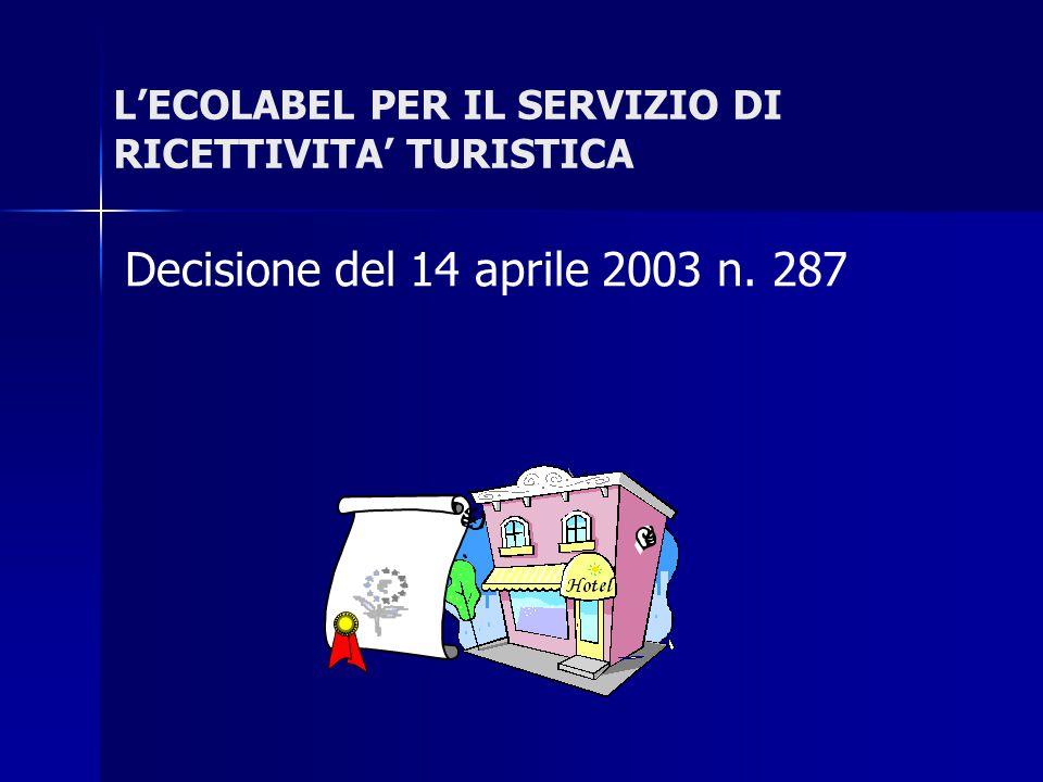L'ECOLABEL PER IL SERVIZIO DI RICETTIVITA' TURISTICA Decisione del 14 aprile 2003 n. 287