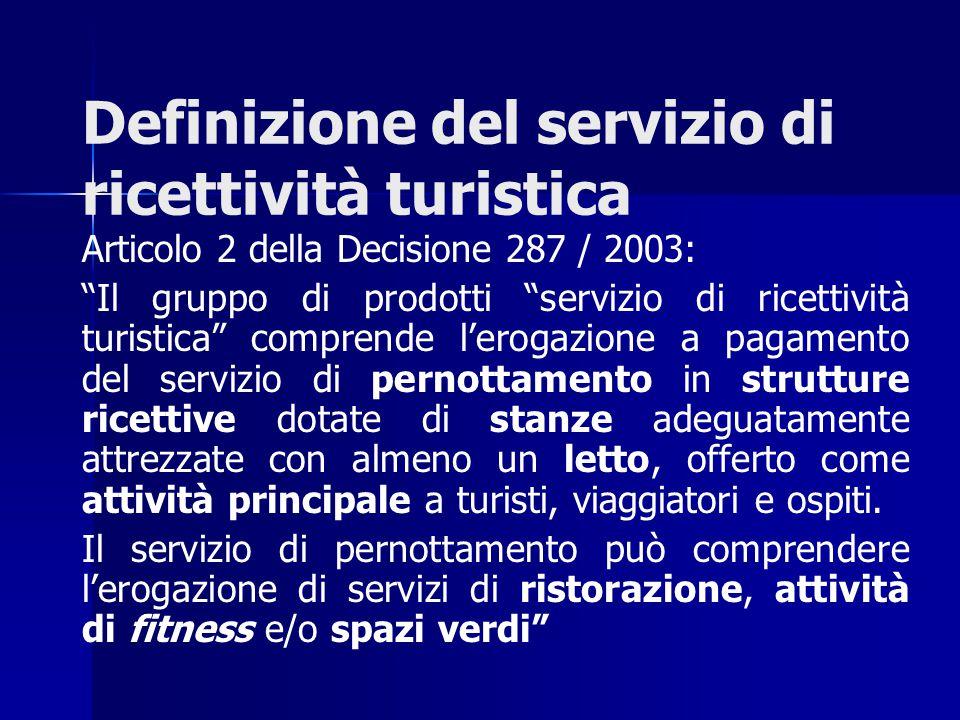 """Articolo 2 della Decisione 287 / 2003: """"Il gruppo di prodotti """"servizio di ricettività turistica"""" comprende l'erogazione a pagamento del servizio di p"""