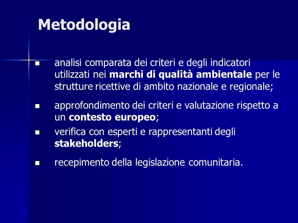 Metodologia analisi comparata dei criteri e degli indicatori utilizzati nei marchi di qualità ambientale per le strutture ricettive di ambito nazional