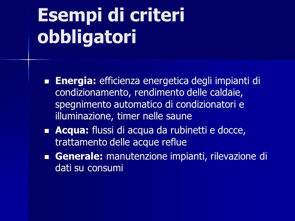 Esempi di criteri obbligatori Energia: efficienza energetica degli impianti di condizionamento, rendimento delle caldaie, spegnimento automatico di co