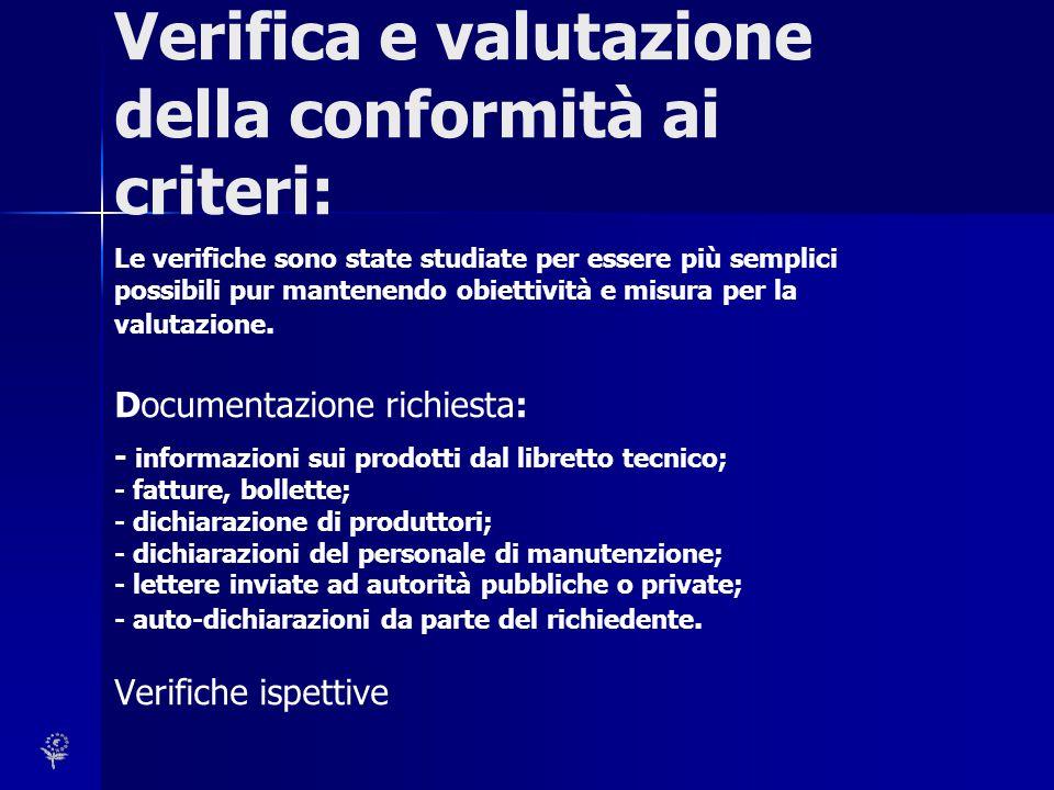 Verifica e valutazione della conformità ai criteri: Le verifiche sono state studiate per essere più semplici possibili pur mantenendo obiettività e mi