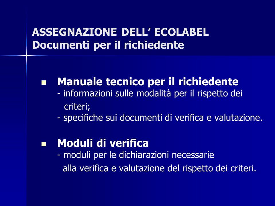 Manuale tecnico per il richiedente - informazioni sulle modalità per il rispetto dei criteri; - specifiche sui documenti di verifica e valutazione.