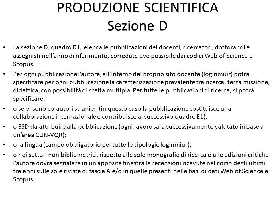 PRODUZIONE SCIENTIFICA Sezione D La sezione D, quadro D1, elenca le pubblicazioni dei docenti, ricercatori, dottorandi e assegnisti nell'anno di riferimento, corredate ove possibile dai codici Web of Science e Scopus.