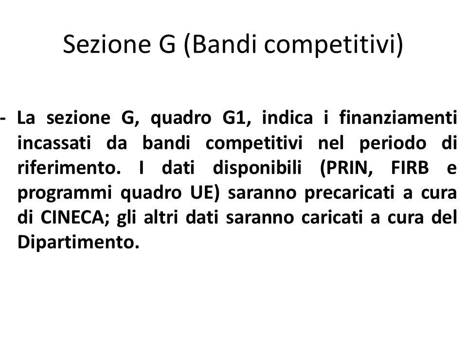 Sezione G (Bandi competitivi) - La sezione G, quadro G1, indica i finanziamenti incassati da bandi competitivi nel periodo di riferimento.