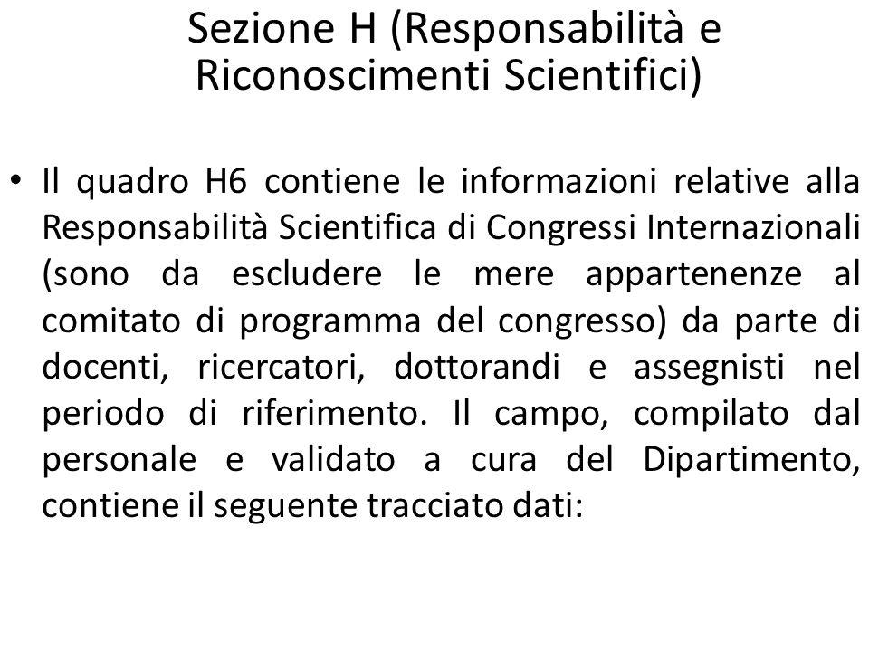 Il quadro H6 contiene le informazioni relative alla Responsabilità Scientifica di Congressi Internazionali (sono da escludere le mere appartenenze al comitato di programma del congresso) da parte di docenti, ricercatori, dottorandi e assegnisti nel periodo di riferimento.