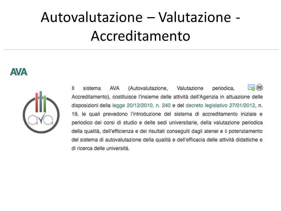 Autovalutazione – Valutazione - Accreditamento