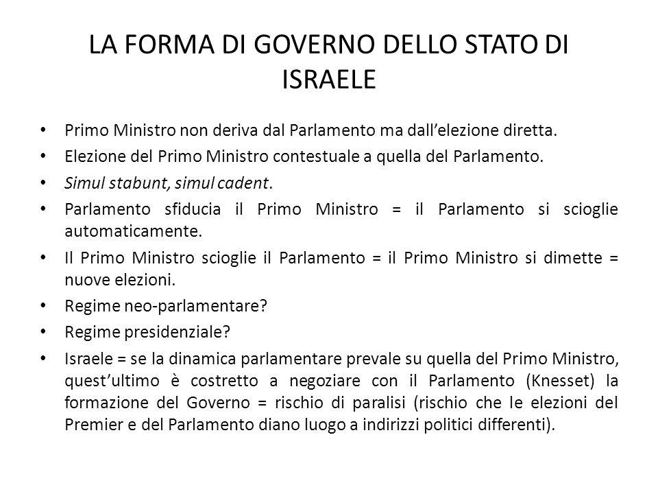 LA FORMA DI GOVERNO DELLO STATO DI ISRAELE Primo Ministro non deriva dal Parlamento ma dall'elezione diretta.