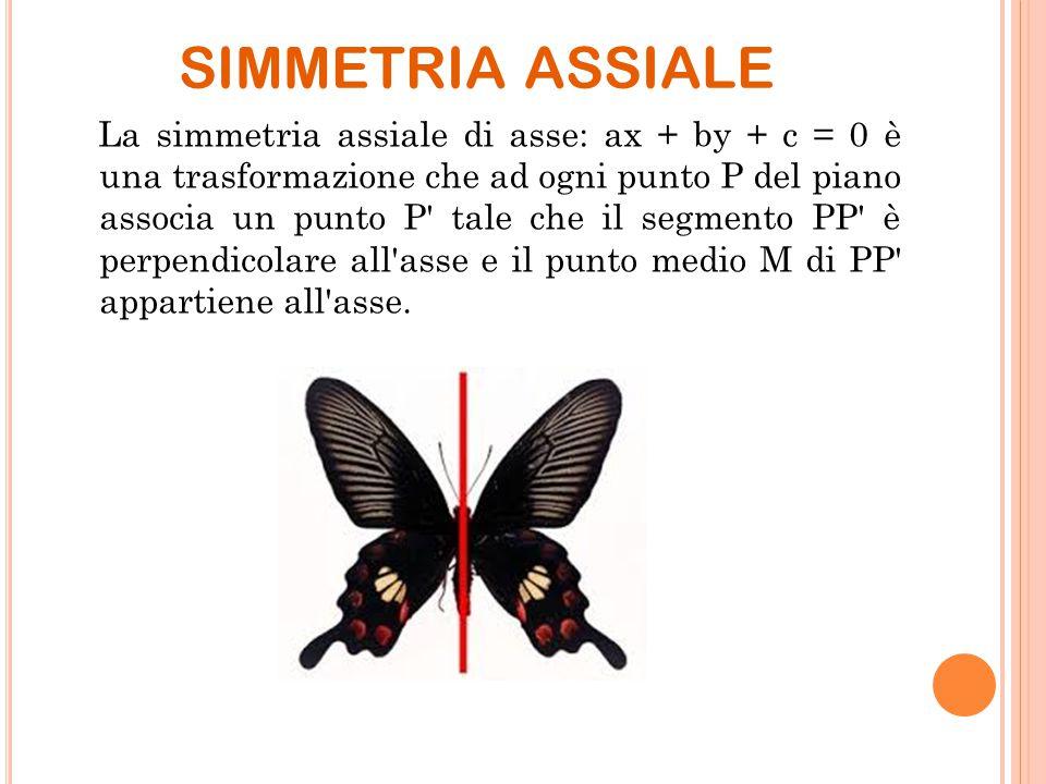 SIMMETRIA ASSIALE La simmetria assiale di asse: ax + by + c = 0 è una trasformazione che ad ogni punto P del piano associa un punto P' tale che il seg