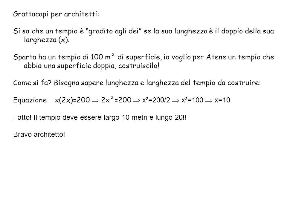 Grattacapi per architetti: Si sa che un tempio è gradito agli dei se la sua lunghezza è il doppio della sua larghezza (x).
