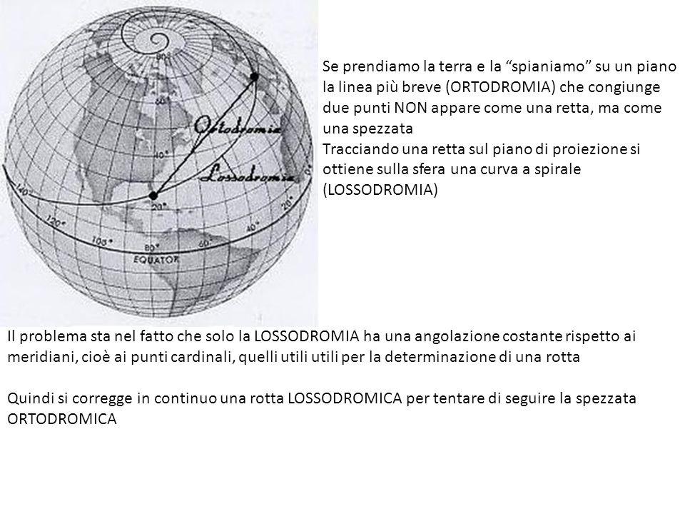Se prendiamo la terra e la spianiamo su un piano la linea più breve (ORTODROMIA) che congiunge due punti NON appare come una retta, ma come una spezzata Tracciando una retta sul piano di proiezione si ottiene sulla sfera una curva a spirale (LOSSODROMIA) Il problema sta nel fatto che solo la LOSSODROMIA ha una angolazione costante rispetto ai meridiani, cioè ai punti cardinali, quelli utili utili per la determinazione di una rotta Quindi si corregge in continuo una rotta LOSSODROMICA per tentare di seguire la spezzata ORTODROMICA