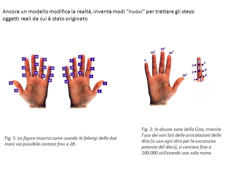 Fig.1: La figura mostra come usando le falangi delle due mani sia possibile contare fino a 28.