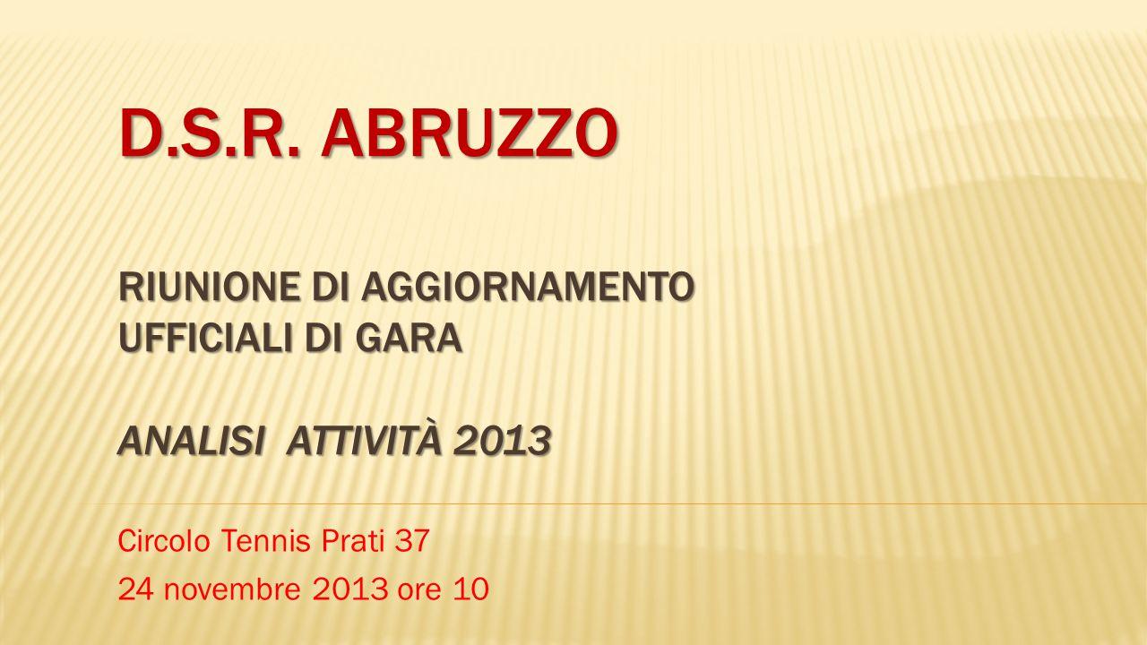 D.S.R. ABRUZZO RIUNIONE DI AGGIORNAMENTO UFFICIALI DI GARA ANALISI ATTIVITÀ 2013 Circolo Tennis Prati 37 24 novembre 2013 ore 10