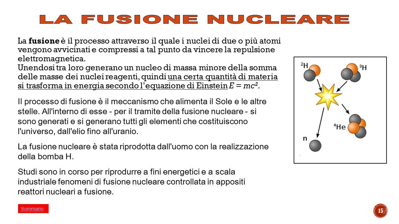15 La fusione è il processo attraverso il quale i nuclei di due o più atomi vengono avvicinati e compressi a tal punto da vincere la repulsione elettr