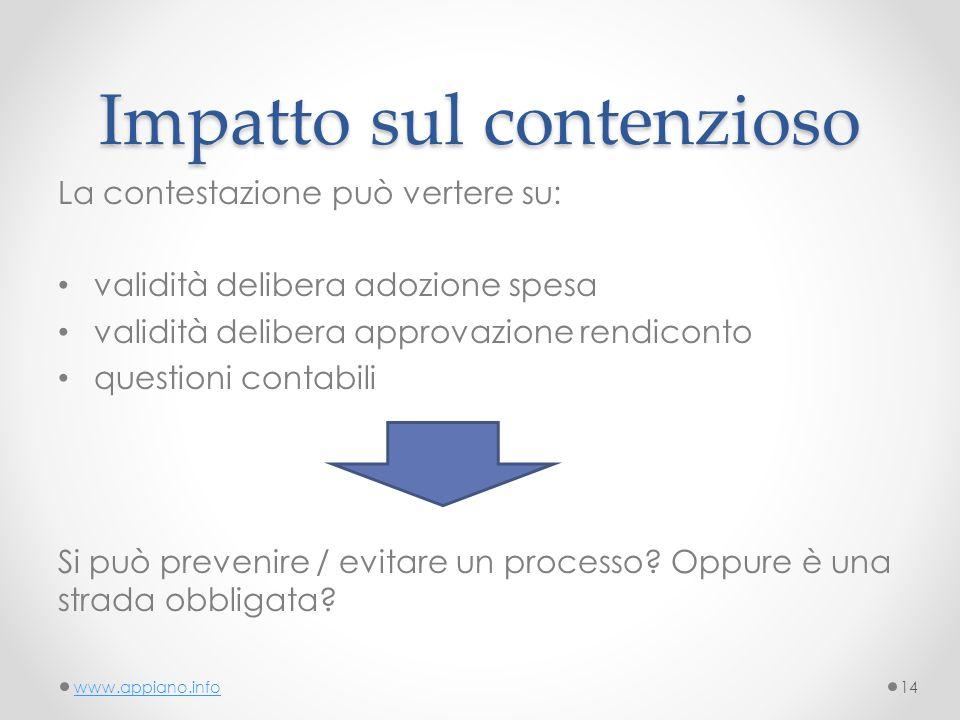 Impatto sul contenzioso La contestazione può vertere su: validità delibera adozione spesa validità delibera approvazione rendiconto questioni contabili Si può prevenire / evitare un processo.