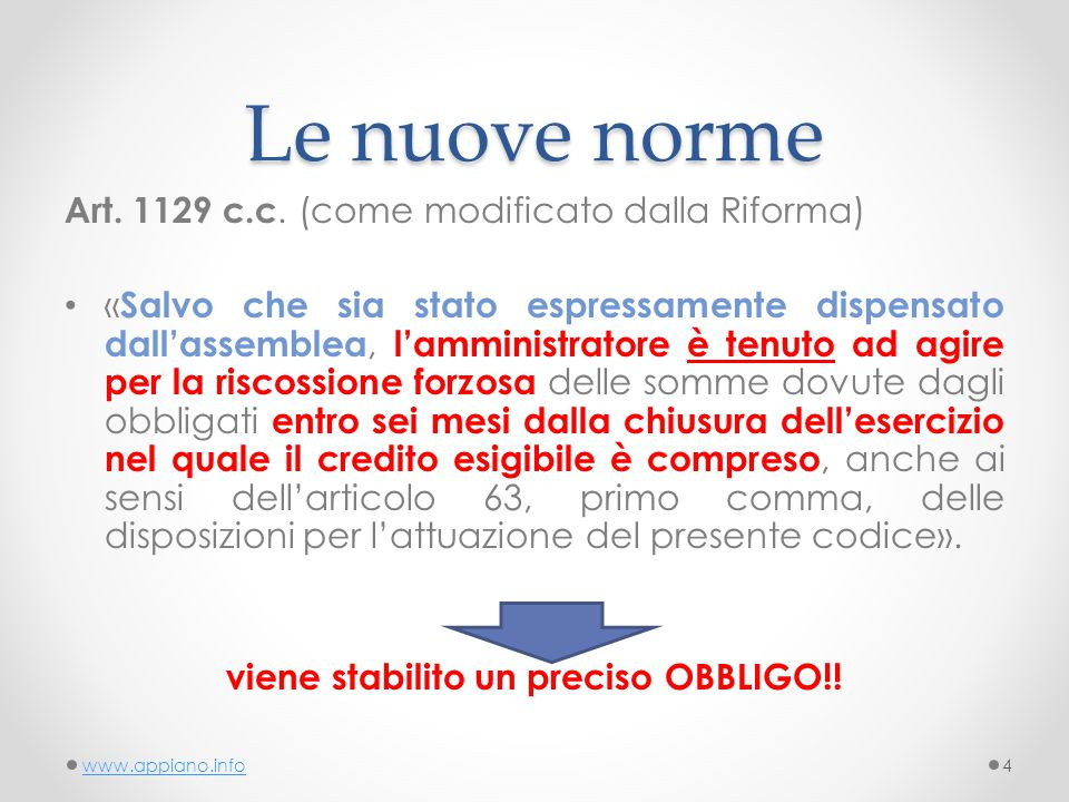 Le nuove norme Art. 1129 c.c.