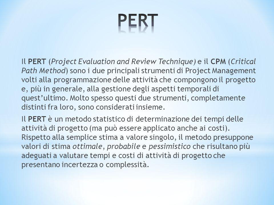 Il PERT (Project Evaluation and Review Technique) e il CPM (Critical Path Method) sono i due principali strumenti di Project Management volti alla pro