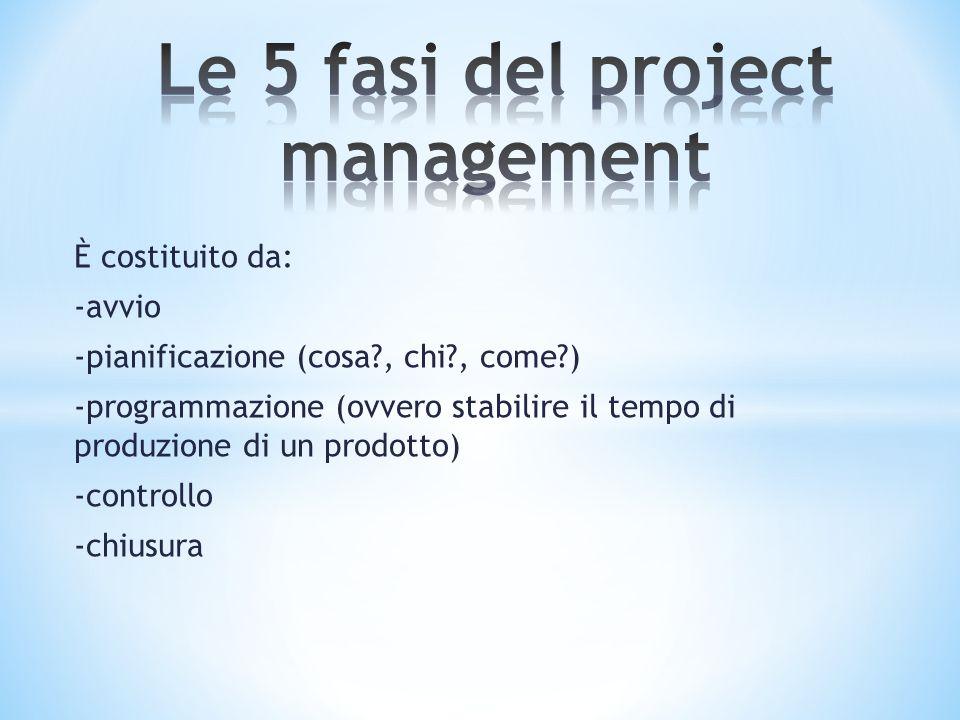 È costituito da: -avvio -pianificazione (cosa?, chi?, come?) -programmazione (ovvero stabilire il tempo di produzione di un prodotto) -controllo -chiu