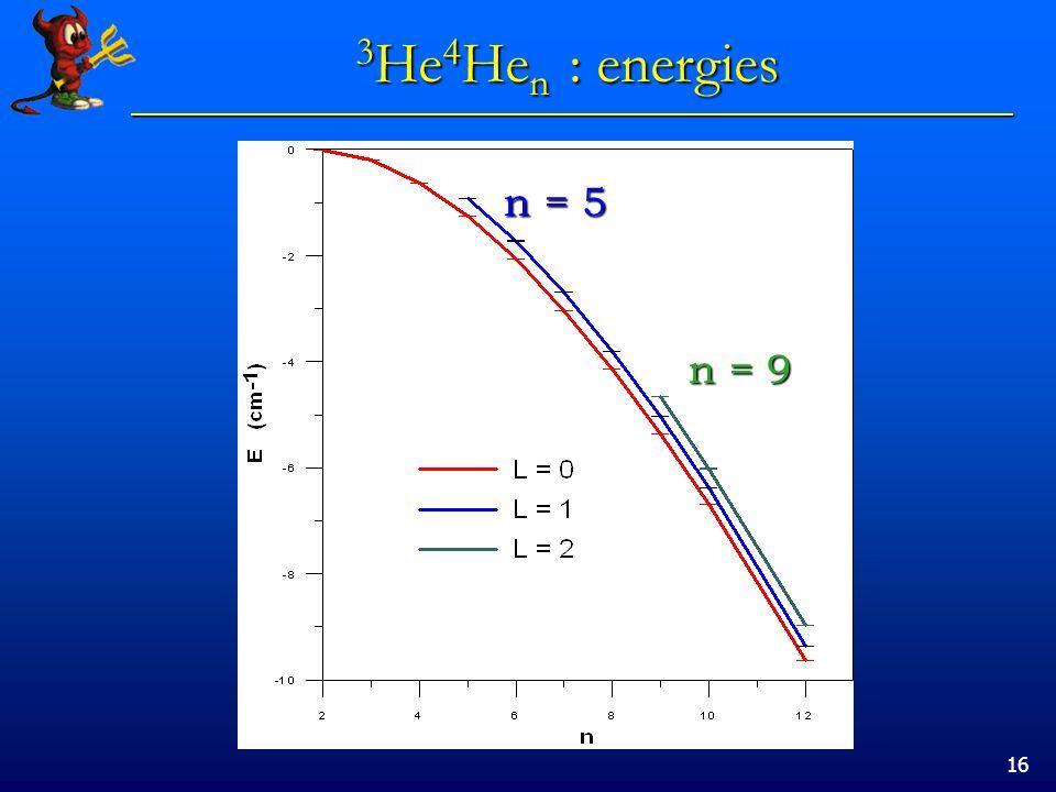 16 3 He 4 He n : energies n = 5 n = 9