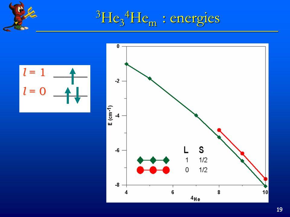 19 3 He 3 4 He m : energies 3 He 3 4 He m : energies l = 1 ______ l = 0 ______