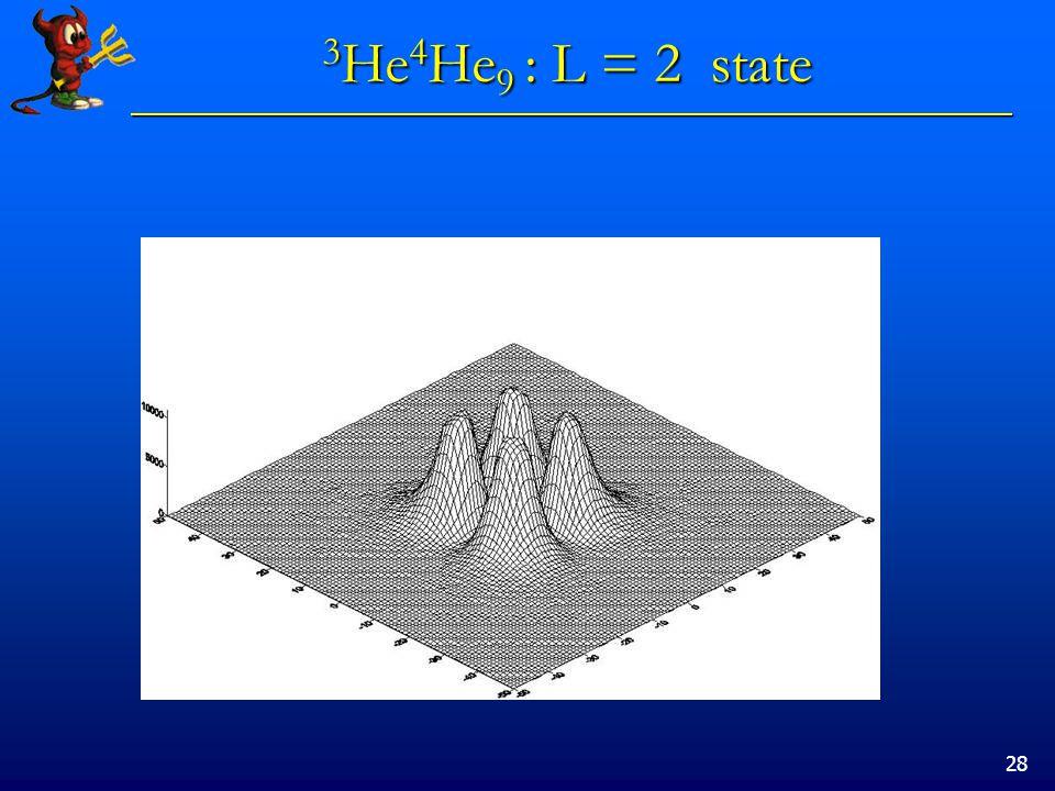 28 3 He 4 He 9 : L = 2 state