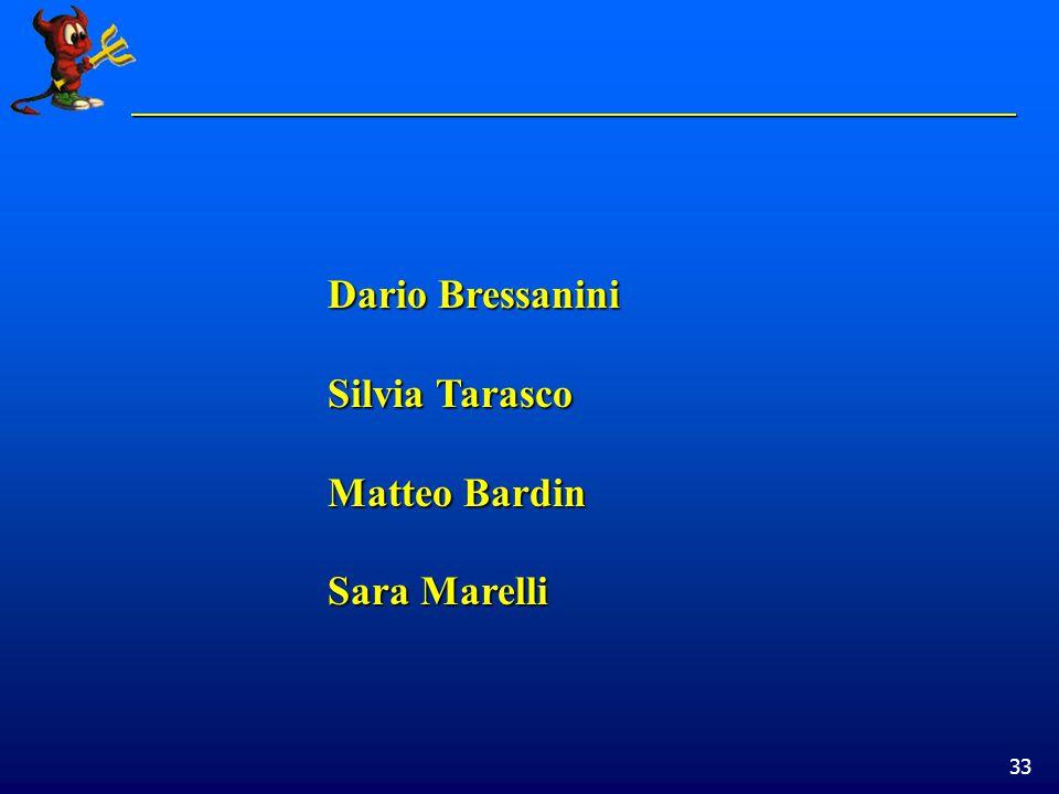 33 Dario Bressanini Silvia Tarasco Matteo Bardin Sara Marelli