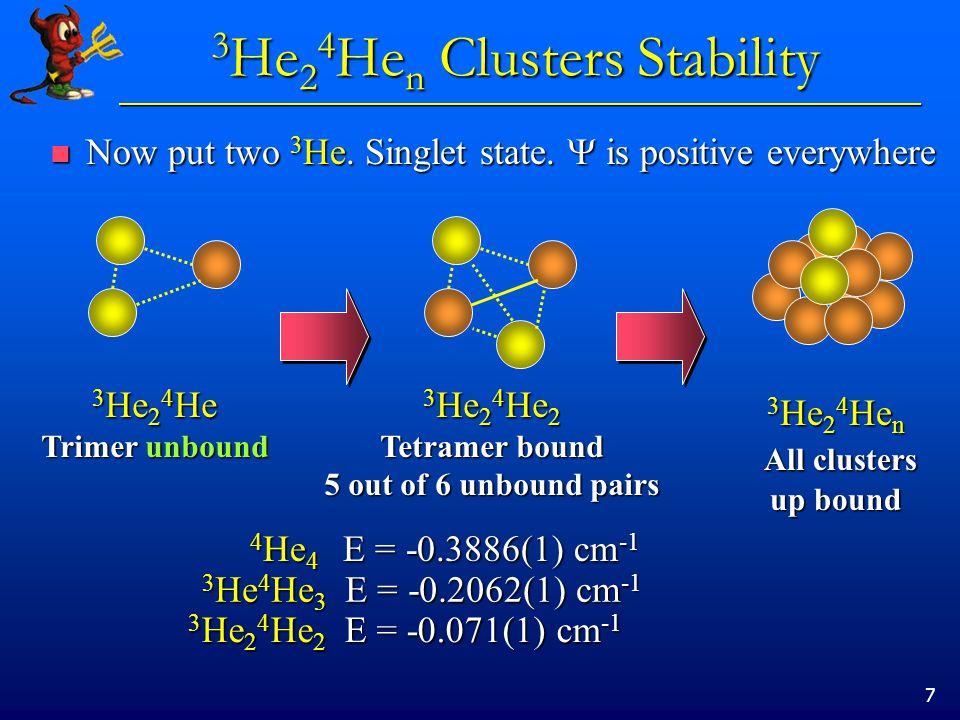 18 3 He 2 4 He n : energies 3 He 2 4 He n : energies Energy relative to 4 He n energy Energy relative to 4 He n energy l = 0 ______ l = 1 ______ l = 0 ______ l = 1 ______ l = 0 ______