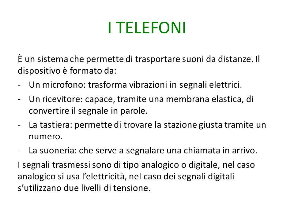 I TELEFONI È un sistema che permette di trasportare suoni da distanze. Il dispositivo è formato da: -Un microfono: trasforma vibrazioni in segnali ele