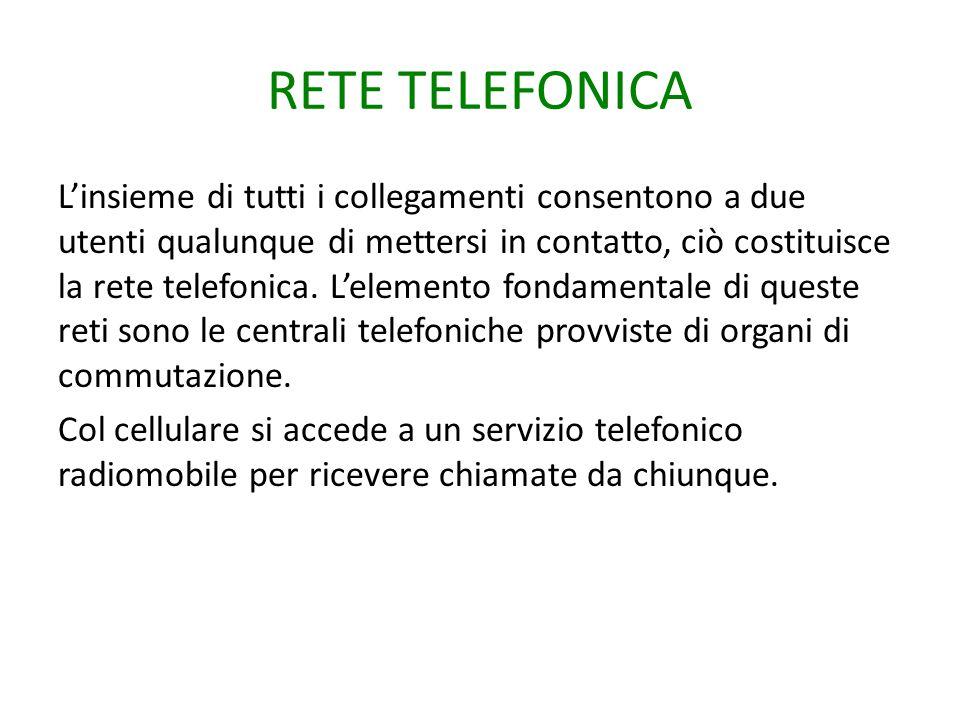 RETE TELEFONICA L'insieme di tutti i collegamenti consentono a due utenti qualunque di mettersi in contatto, ciò costituisce la rete telefonica. L'ele