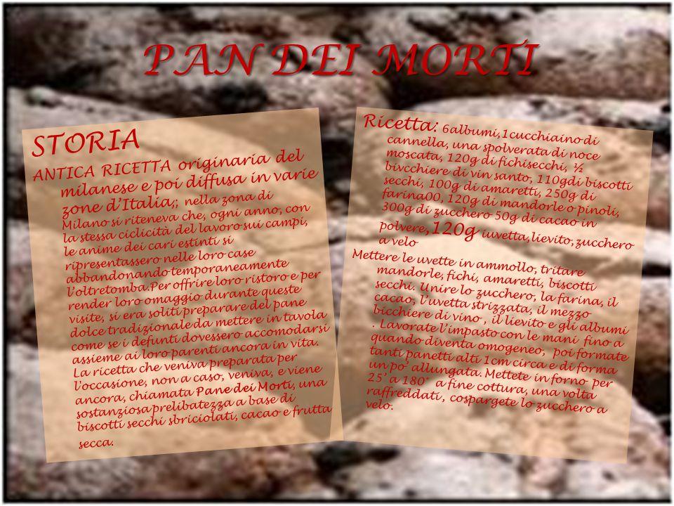 PAN DEI MORTI STORIA ANTICA RICETTA originaria del milanese e poi diffusa in varie zone d'Italia,; nella zona di Milano si riteneva che, ogni anno, co
