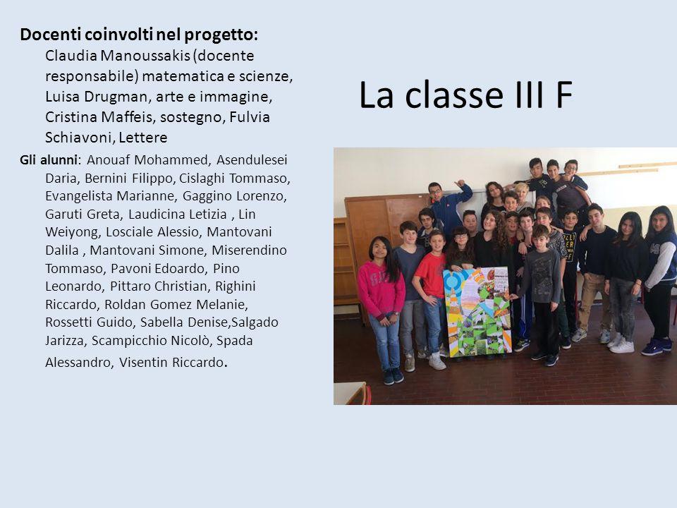La classe III F Docenti coinvolti nel progetto: Claudia Manoussakis (docente responsabile) matematica e scienze, Luisa Drugman, arte e immagine, Crist