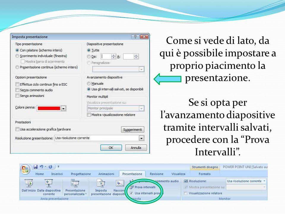 """L'avvio di una presentazione Power Point può essere automatico o manuale. Innanzitutto si clicchi sul tab """"Presentazione"""" nella barra degli strumenti"""