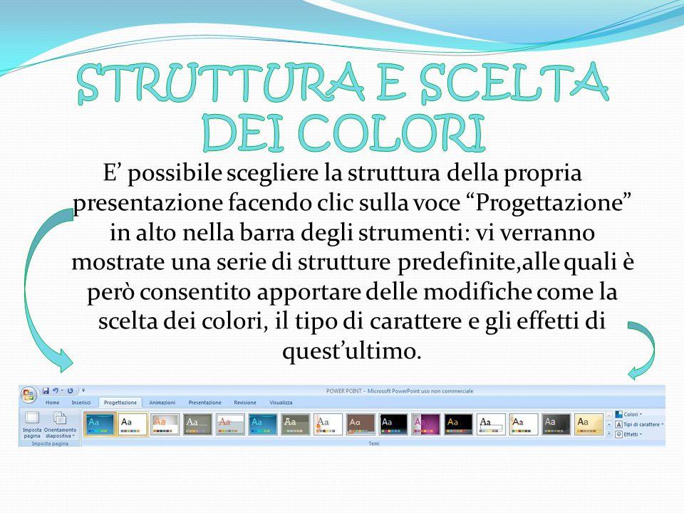 Scegliere la struttura della presentazione e la combinazione dei coloristruttura Scegliere il layout della diapositivalayout Inserire i contenuti: tes