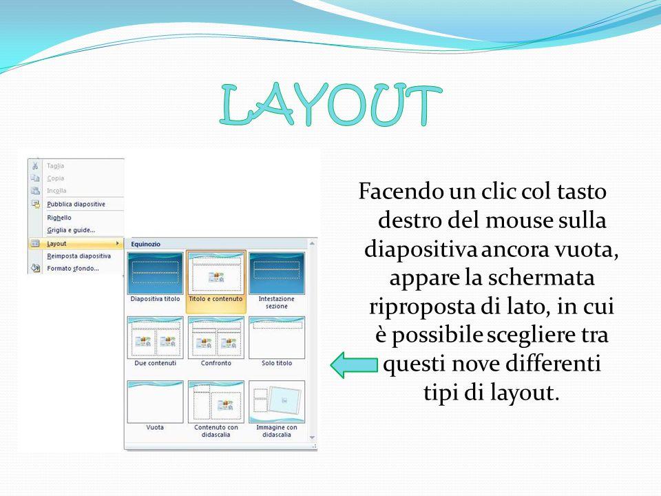 Facendo un clic col tasto destro del mouse sulla diapositiva ancora vuota, appare la schermata riproposta di lato, in cui è possibile scegliere tra questi nove differenti tipi di layout.