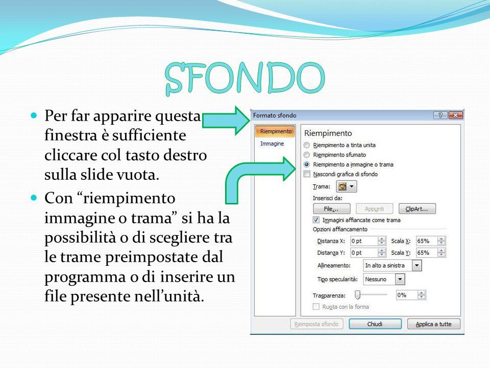 E' possibile inserire immagini all'interno della propria presentazione come sfondo delle diapositive o comesfondo elemento aggiuntivo elemento aggiunt