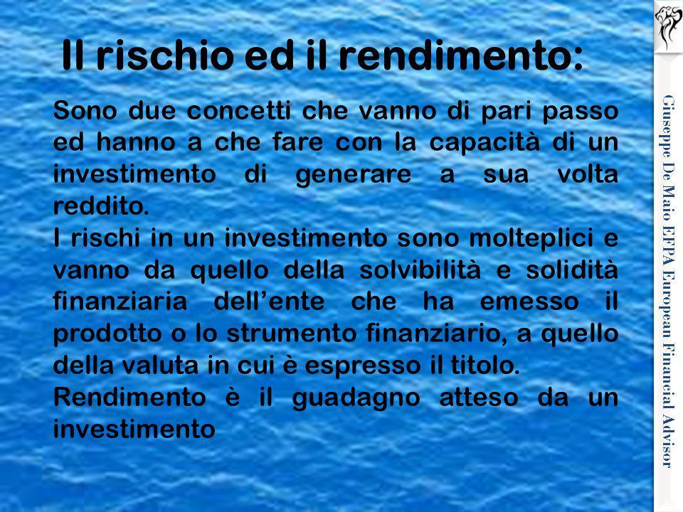 Giuseppe De Maio EFPA European Financial Advisor Il rischio ed il rendimento: Sono due concetti che vanno di pari passo ed hanno a che fare con la cap