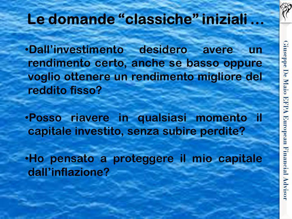 Giuseppe De Maio EFPA European Financial Advisor Dall'investimento desidero avere un rendimento certo, anche se basso oppure voglio ottenere un rendim